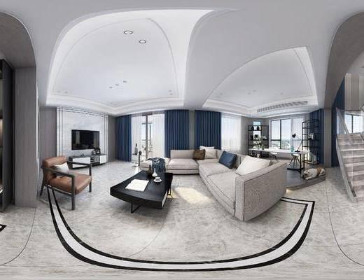 现代简约客厅, 现代沙发茶几组合, 电视柜, 沙发单椅, 储物架, 桌椅组合, 储物柜, 楼梯, 边几, 现代