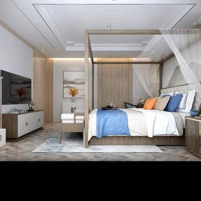卧室, 双人床, 电视柜, 床头柜, 台灯, 壁画, 地毯, 中式