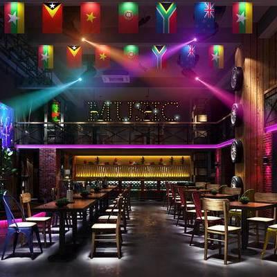 酒吧, 桌子, 椅子, 吧椅, 壁画, 现代