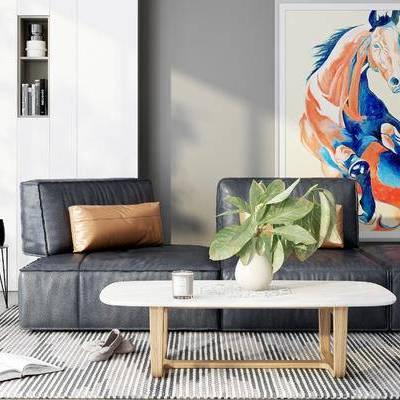 沙发组合, 多人沙发, 茶几, 壁画, 边几, 置物柜, 地毯, 现代