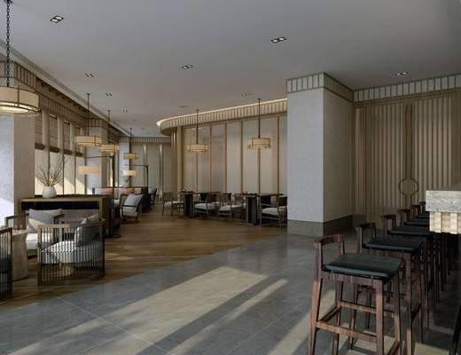 新中式茶室, 桌子, 椅子, 吊灯, 茶几, 边几, 吧台, 吧椅, 新中式