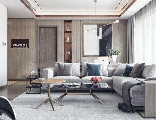 现代客厅, 多人沙发, 茶几, 壁画, 置物柜, 吊灯, 现代