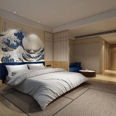日式卧室, 壁画, 双人床, 吊灯, 多人沙发, 椅子, 圆几, 床头柜, 日式