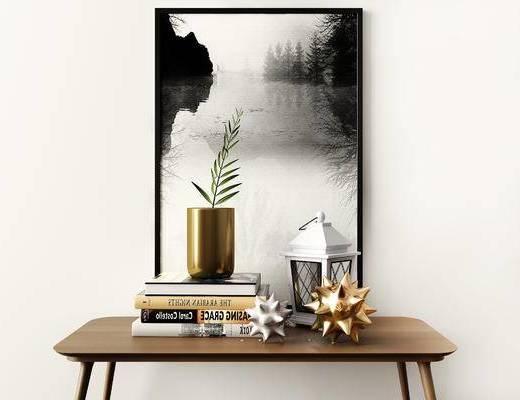 摆件组合, 装饰画, 盆栽, 桌子, 现代