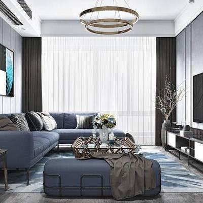 现代客厅, 壁画, 吊灯, 多人沙发, 电视柜, 茶几, 花瓶, 边几, 沙发凳, 现代