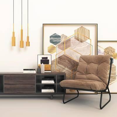 现代电视柜, 电视柜, 边柜组合, 边柜, 单椅