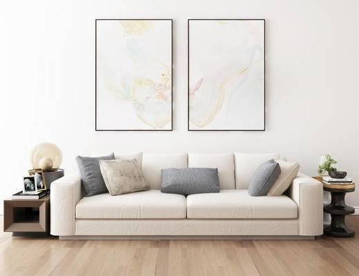 摆件组合, 双人沙发, 壁画, 边几, 台灯, 现代