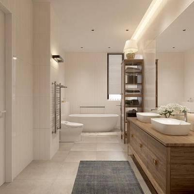 卫浴, 马桶, 置物柜, 台灯, 洗手台, 浴缸, 中式