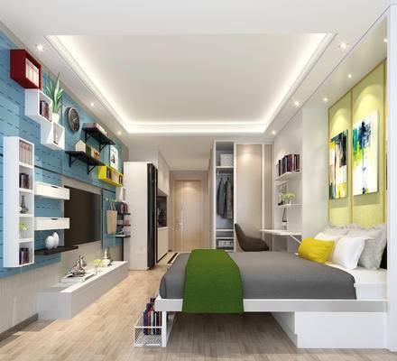 简欧公寓, 壁画, 双人床, 电视柜, 桌子, 椅子, 衣柜, 置物柜, 简欧