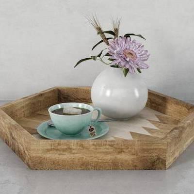 新中式, 摆件, 托盘, 瓷杯, 花瓶