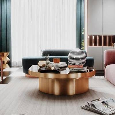 北欧客厅, 双人沙发, 落地灯, 台灯, 茶几, 边几, 沙发躺椅, 椅子, 沙发凳, 北欧