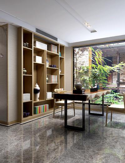 新中式书房, 桌子, 椅子, 置物柜, 盆栽, 新中式