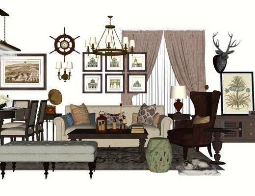 沙发组合, 多人沙发, 茶几, 壁画, 吊灯, 椅子, 桌子, 边柜, 美式