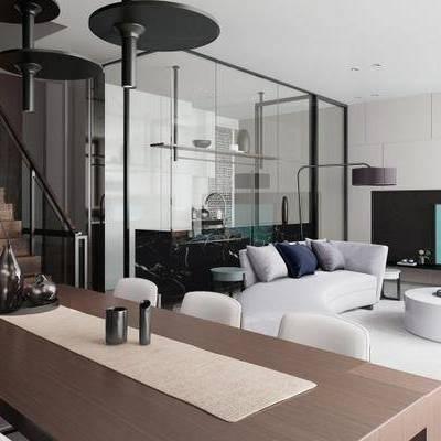 現代客廳, 沙發茶幾組合, 桌椅組合, 現代擺件組合, 落地燈, 吊燈, 地毯, 現代