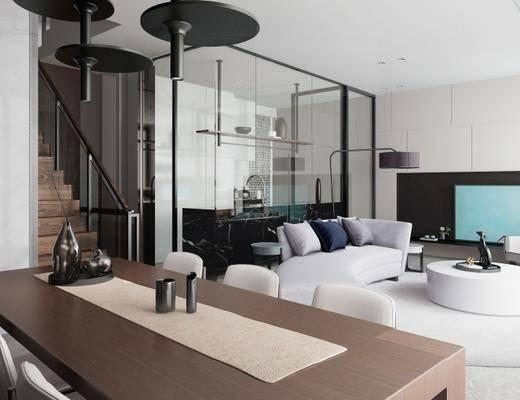现代客厅, 沙发茶几组合, 桌椅组合, 现代摆件组合, 落地灯, 吊灯, 地毯, 现代