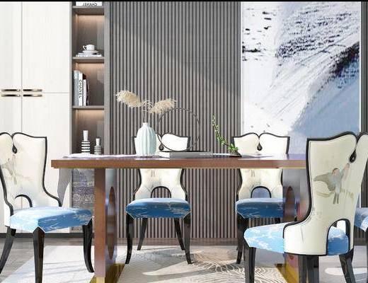 桌椅组合, 桌子, 椅子, 置物柜, 装饰画, 新中式