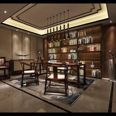新中式书房, 吊灯, 桌子, 椅子, 置物柜, 新中式