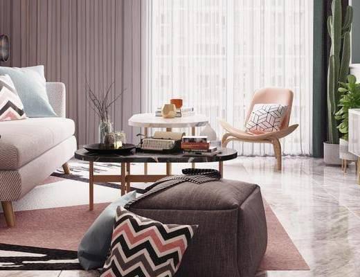 北欧客厅, 电视柜, 茶几, 双人沙发, 落地灯, 椅子, 沙发凳, 边几, 北欧
