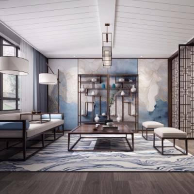 1000套空间酷赠送模型, 新中式, 客厅, 多人沙发, 沙发凳, 茶几, 吊灯, 摆件