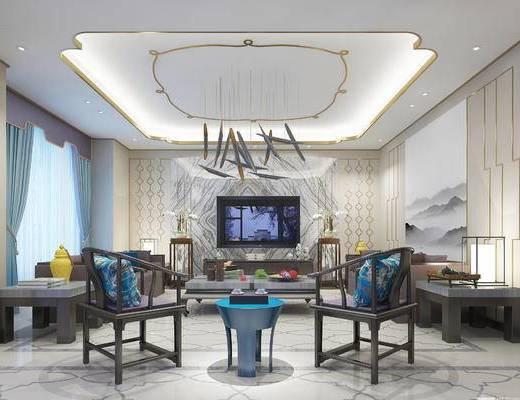 新中式客厅, 壁画, 椅子, 电视柜, 多人沙发, 边几, 台灯, 茶几, 新中式