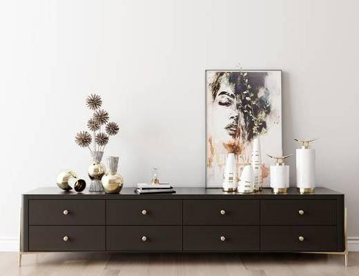 摆件组合, 电视柜, 装饰画, 花瓶, 现代