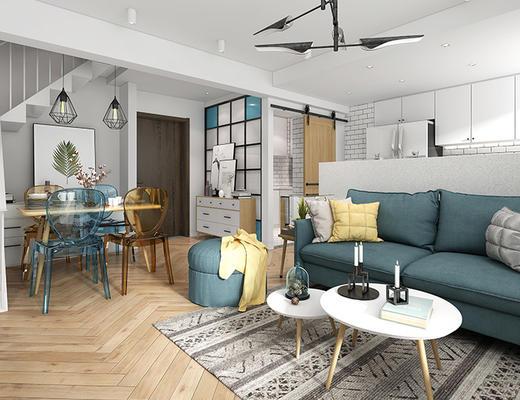 北欧简约, 客厅, 餐厅, 沙发茶几组合, 桌椅组合, 吊灯