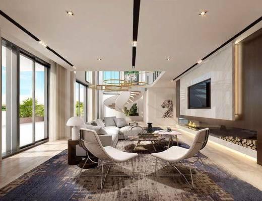 现代简约, 客厅, 沙发茶几组合, 椅子