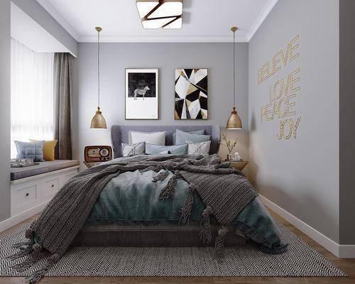 床具组合, 壁画, 吊灯, 双人床, 边几, 现代