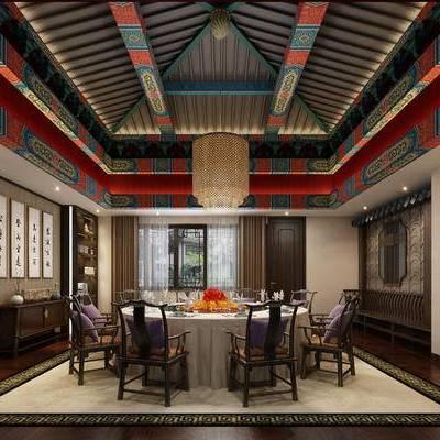 中式包间, 桌子, 椅子, 置物柜, 壁画, 吊灯, 中式