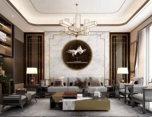 沙发组合, 墙饰, 吊灯, 单椅, 置物柜