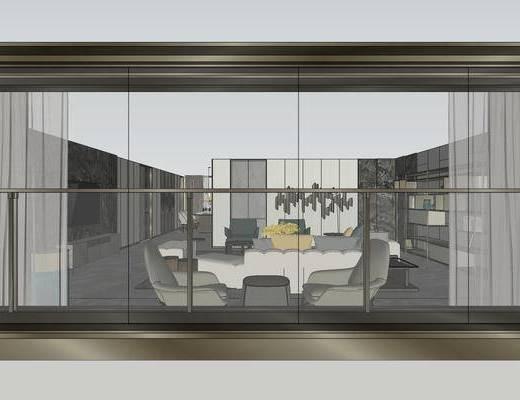 样板房, 客厅, 客厅餐厅