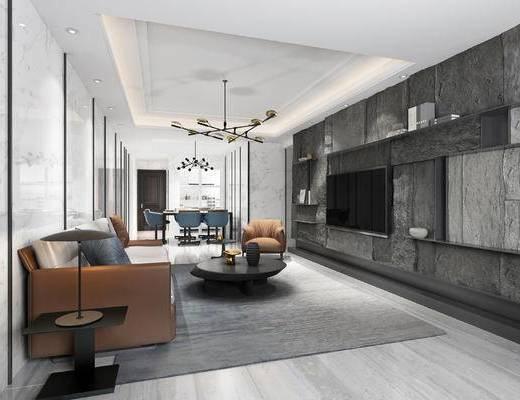 现代客厅, 电视柜, 吊灯, 多人沙发, 茶几, 桌子, 椅子, 边几, 台灯, 现代