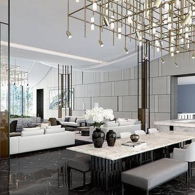 新中式售楼处, 多人沙发, 吊灯, 桌子, 椅子, 花瓶, 新中式