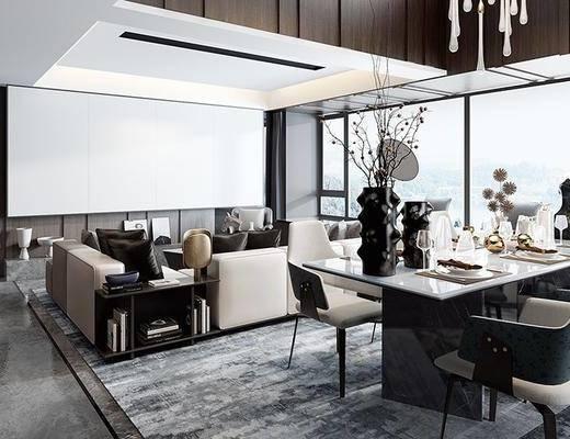 后现代客厅, 多人沙发, 椅子, 吊灯, 边几, 桌子, 置物柜, 后现代
