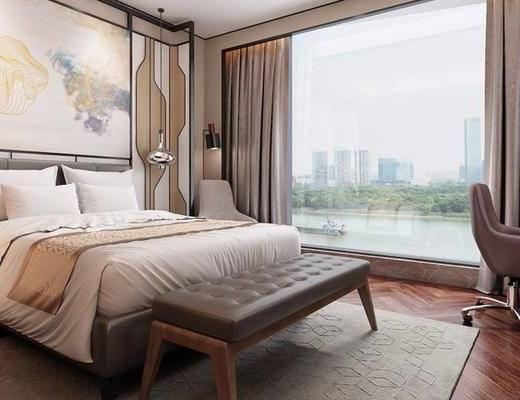新中式, 卧室, 床, 脚踏, 沙发, 吊灯, 落地灯, 床头柜