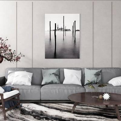 沙发组合, 多人沙发, 茶几, 椅子, 壁画, 盆栽, 现代