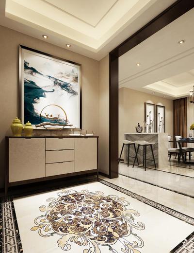 玄关走廊, 壁画, 边柜, 吧台, 吧椅, 吊灯, 桌子, 中式