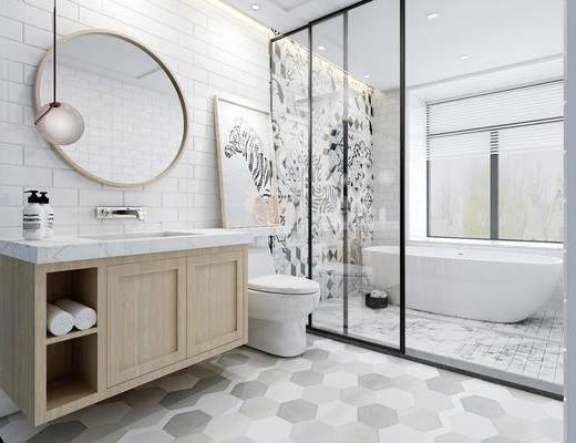 北欧, 卫浴, 镜子, 浴缸, 马桶, 洗手台, 装饰画, 吊灯