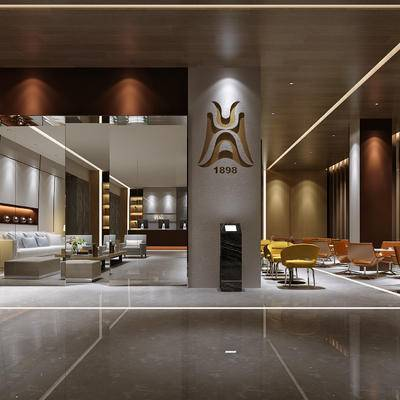 休息区, 前台, 桌子, 椅子, 多人沙发, 置物柜, 现代