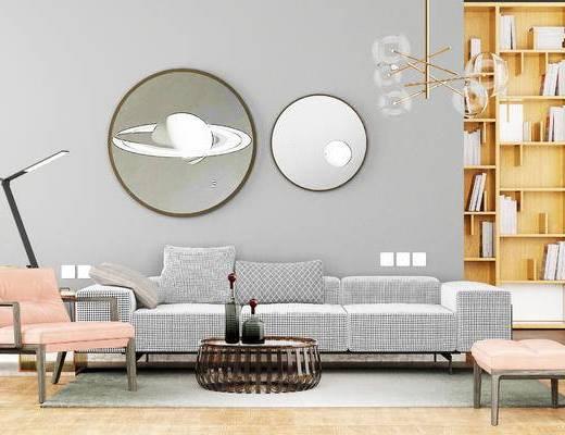 沙发组合, 多人沙发, 茶几, 置物柜, 吊灯, 椅子, 边几, 台灯, 现代