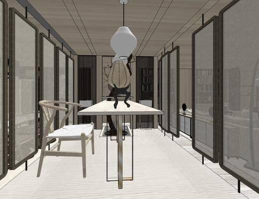 茶室, 桌子, 椅子, 吊灯, 新中式, 新中式茶室