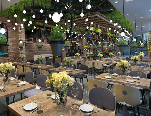 现代餐厅, 工业风餐厅, 餐厅, 餐桌, 椅子, 吊灯, 吧台, 花瓶, 餐具