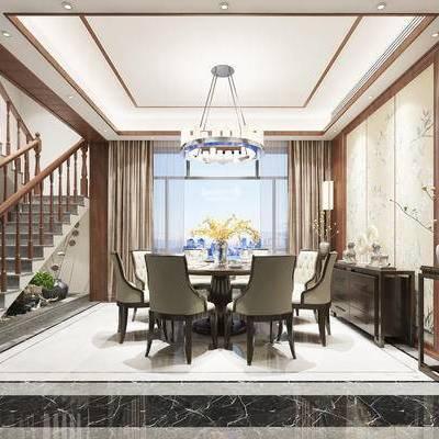 中式餐厅, 吊灯, 桌子, 椅子, 边柜, 边几, 台灯, 壁灯, 花瓶, 中式
