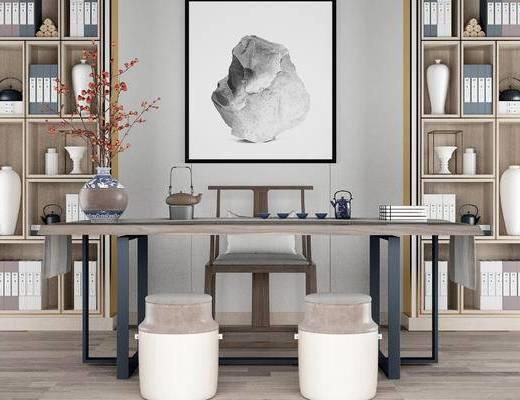 桌椅组合, 桌子, 椅子, 置物柜, 中式