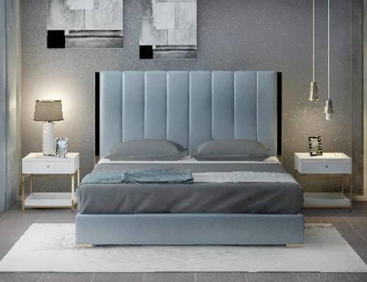 双人床, 吊灯, 床头柜, 壁画, 台灯, 现代