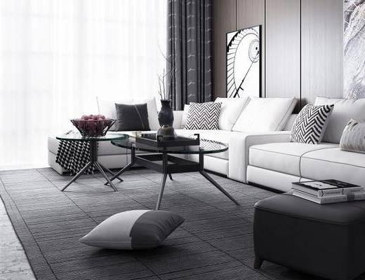 现代客厅, 多人沙发, 茶几, 沙发凳, 边柜, 边几, 摆件, 现代