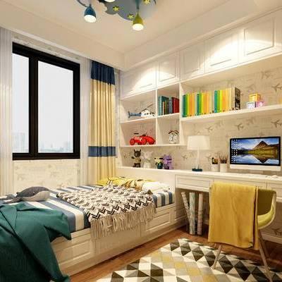 现代简约卧室, 床, 吊灯, 储物柜, 桌椅组合, 台灯, 电脑, 玩具, 地毯, 现代简约