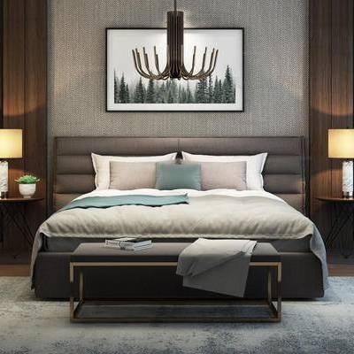 现代简约, 床具组合, 吊灯, 台灯, 植物, 下得乐3888套模型合辑
