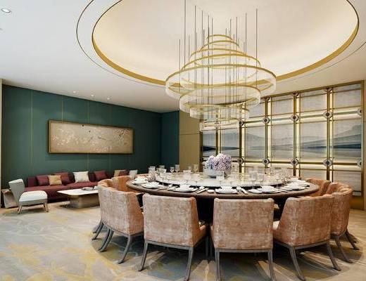 现代, 酒店, 包间, 餐桌, 椅子, 吊灯, 沙发, 茶几, 餐具