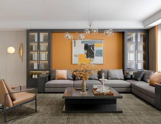 现代客厅, 多人沙发, 吊灯, 壁画, 椅子, 茶几, 落地灯, 置物柜, 花瓶, 现代